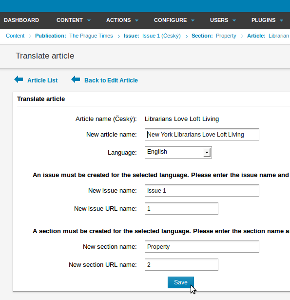 how to create a facing page translation